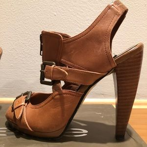 Tan leather high heel sandals